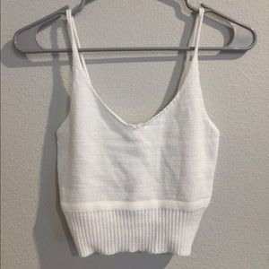 Small white knit tank top (cropped)